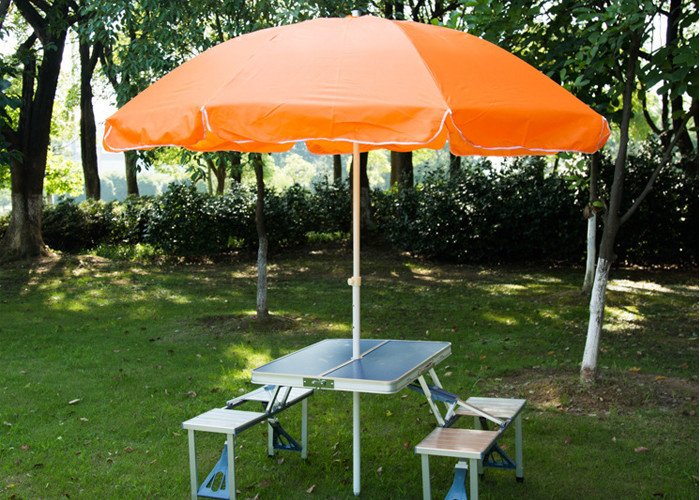 Steel Frame Outside Patio Table Umbrella , Stand Alone Parasol For Garden